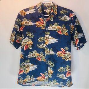 Vtg Pierre Cardin Hawaiian Shirt Floral Men's Lrg